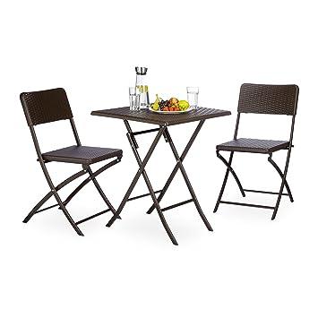 Attraktiv Amazon.de: Relaxdays Gartenmöbel Set BASTIAN, 3 Teilig, Sitzgruppe  Klappbar, Quadratischer Klapptisch Und 2x Gartenstuhl, Braun