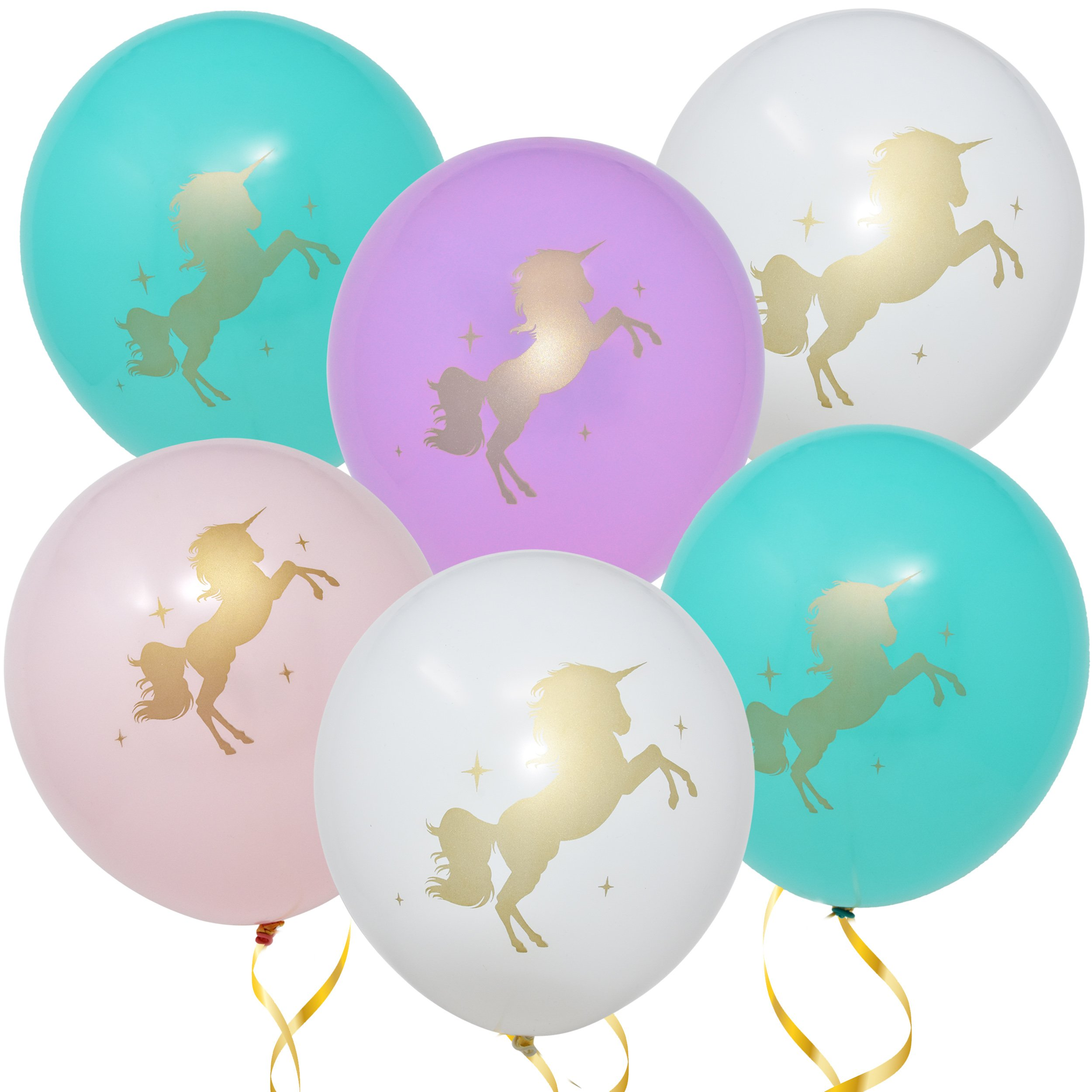 "36 Unicorn Balloons Decorations 36 Pack 12"" Light Pink White Purple and Turquoise Colors With Printed Gold Unicorns for Girls Women Kids Baby Shower Birthday Party Favor Supplies by Gift Boutique"