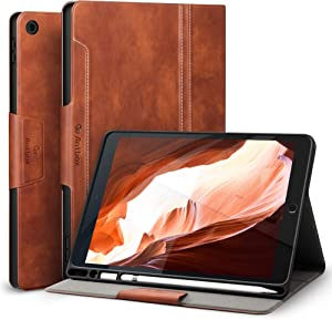Antbox iPad 10.2 Case 2019 iPad 7th Generation Case with Built-in Apple Pencil Holder Auto Sleep/Wake Function PU Leather Smart Cover for iPad 10.2 Inch 2019 (Brown)