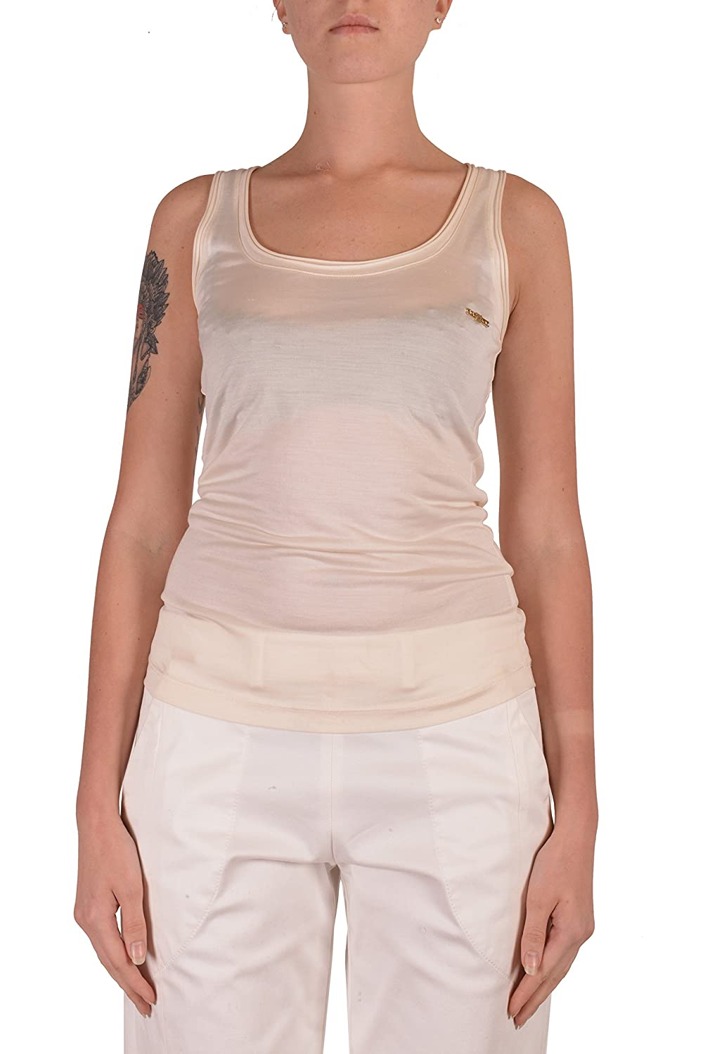 Dsquared2 Women's Beige 100% Silk Sleeveless Tank Top US S IT 40