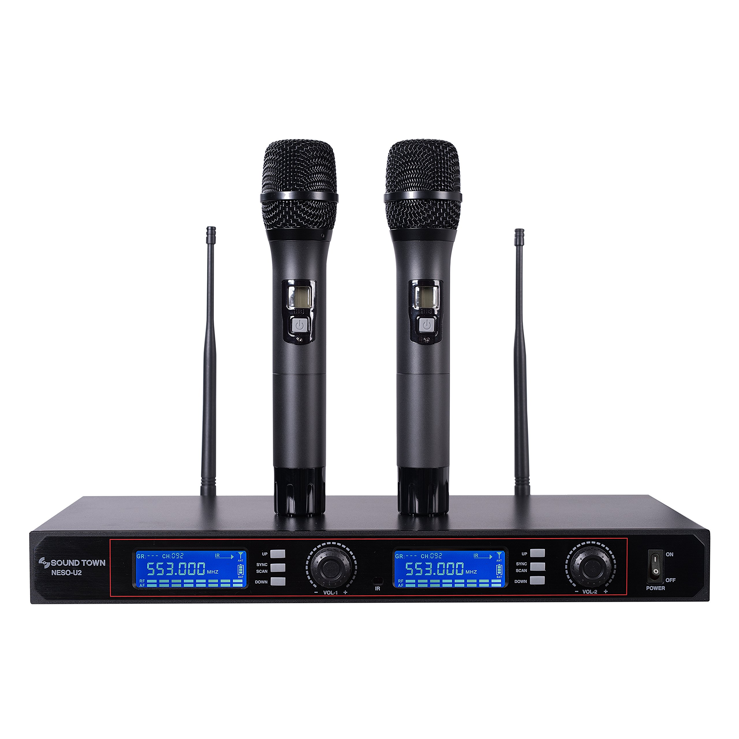 Sound Town Professional UHF Handheld Wireless Microphone System with 200 Selectable Frequencies, LED Display, 2 Handheld Mics (NESO-U2HH)