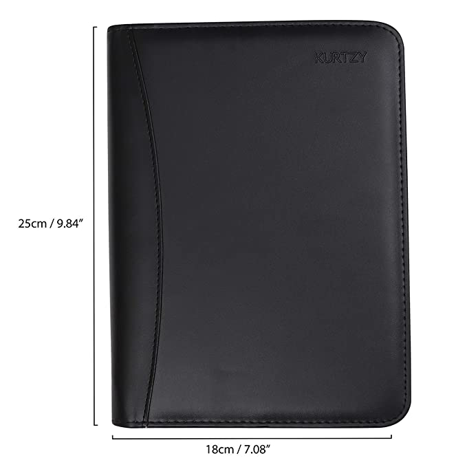 Padfolio - A5 Zippered Resume Portfolio Folder PU Professional Black Leather Organizer with Round Ring Binder, Calculator and Letter Size Writing Pad ...