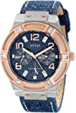 ゲス GUESS Women's U0289L1 Silver and Rose Gold-Tone Denim Multi-Function Watch 女性 レディース 腕時計 【並行輸入品】