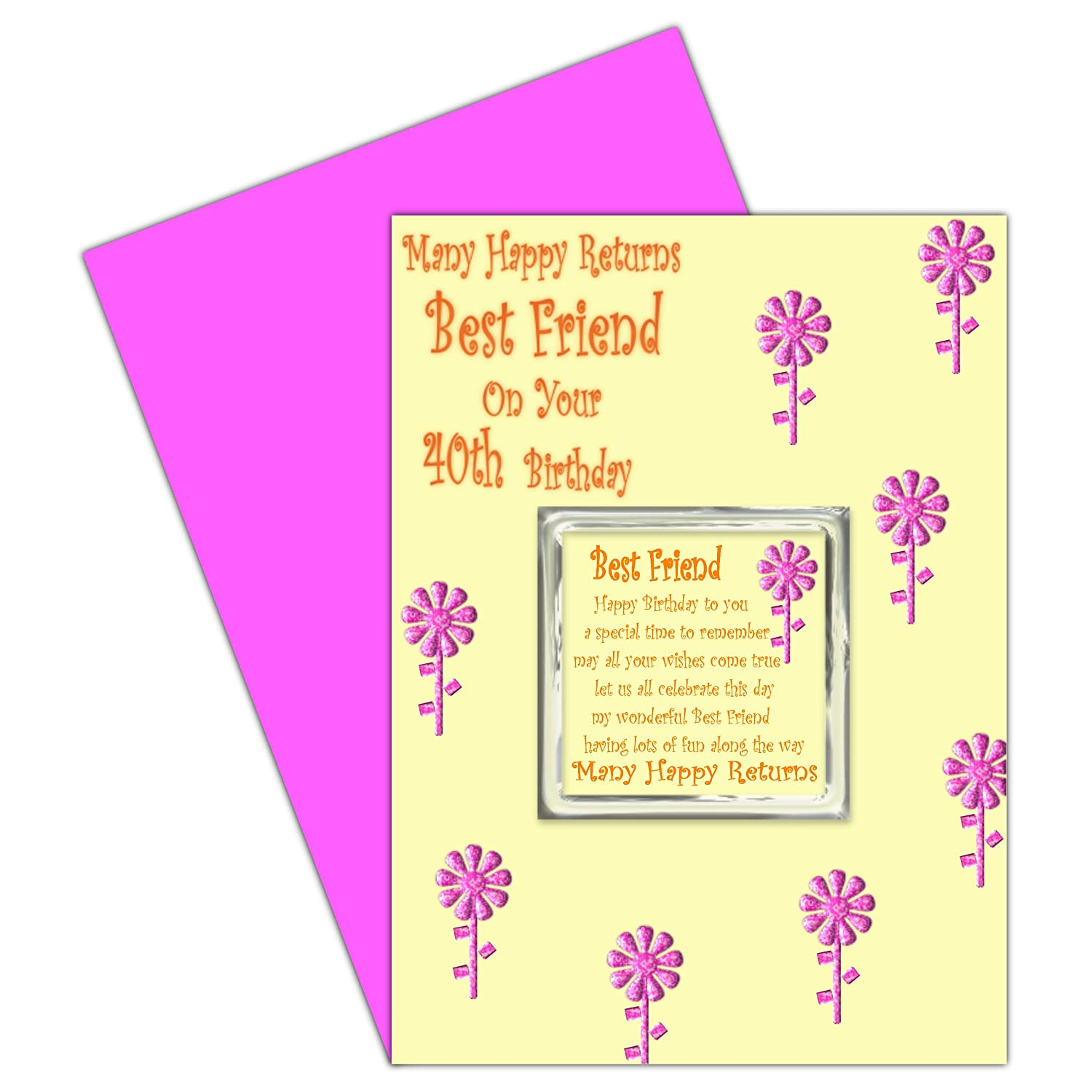 Best Friend 40th Birthday Card With Removable Magnet Gift 40 – Birthday Cards for Your Best Friend