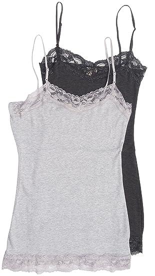 eea9a3de862 2 Pack Zenana Women's Plus Lace Trim Tank Tops 3X Charcoal, H Gray