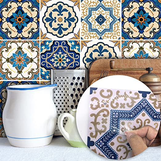Self adhesive Tile Sticker Moroccan Colourful 15cm x 15cm Pack of 36