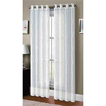 Amazon.com: Window Elements Boho Embroidered Sheer Faux-Linen ...