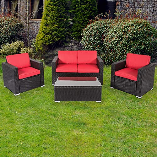 Kinbor 4 PCs Rattan Patio Furniture Set