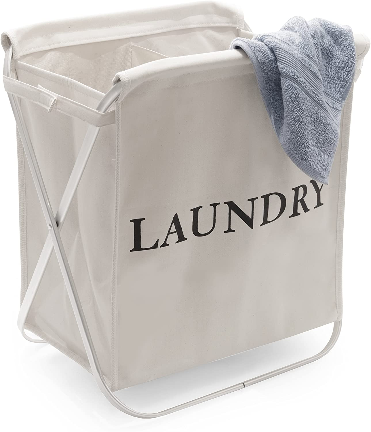 Seville Classics Double Aluminum X-Frame Folding Laundry Hamper, Natural Beige