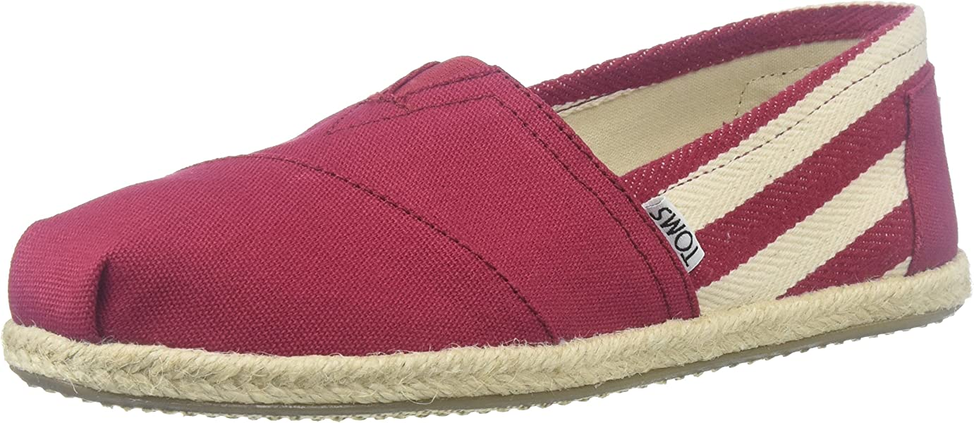 TOMS Womens 10005421 Red Stripe University Alpargata Flat 5 ...