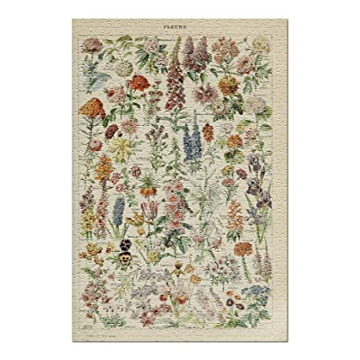 Assorted Flowers - E - Vintage Bookplate - Adolphe Millot Artwork (Premium 500 Piece Jigsaw Puzzle for Adults, 13x19, Made in USA!): Toys & Games