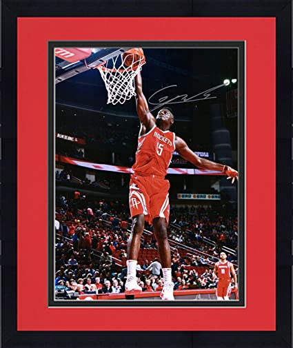 Framed Clint Capela Houston Rockets Autographed 16 quot  x 20 quot  Red  Dunking Photograph - Fanatics 3300c6b2f