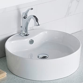 Kraus Kcv 142 Elavo Round Vessel Porcelain Ceramic Bathroom Sink 18 Inch In White With Overflow Vessel Sinks