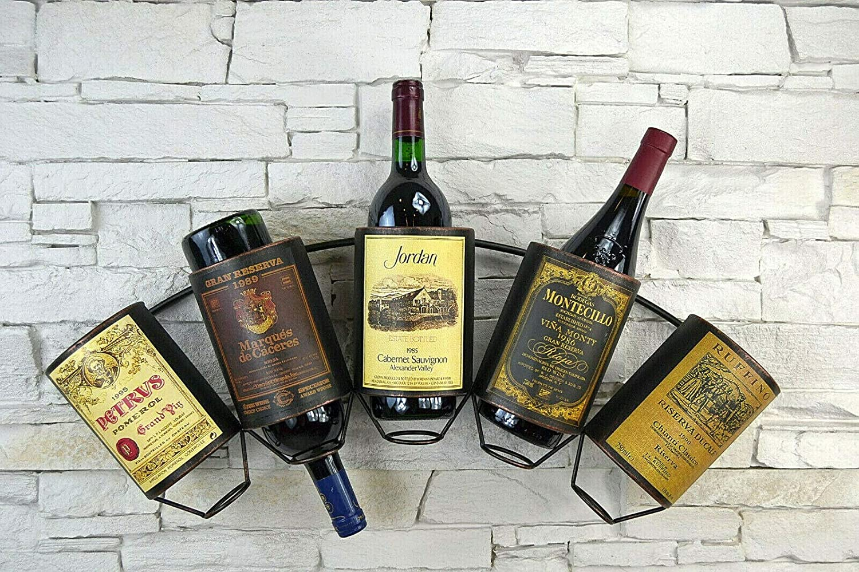 Livitat Wandregal Wein Weinregal Flaschenregal Metall Used Look Vintage Lv5011 5 Flaschen Amazon De Kuche Haushalt