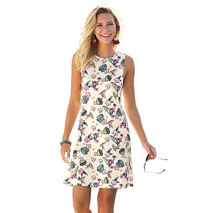VENCA Vestido Estampado línea evasé Mujer by Vencastyle - 014503,Estampado Caqui,XXL