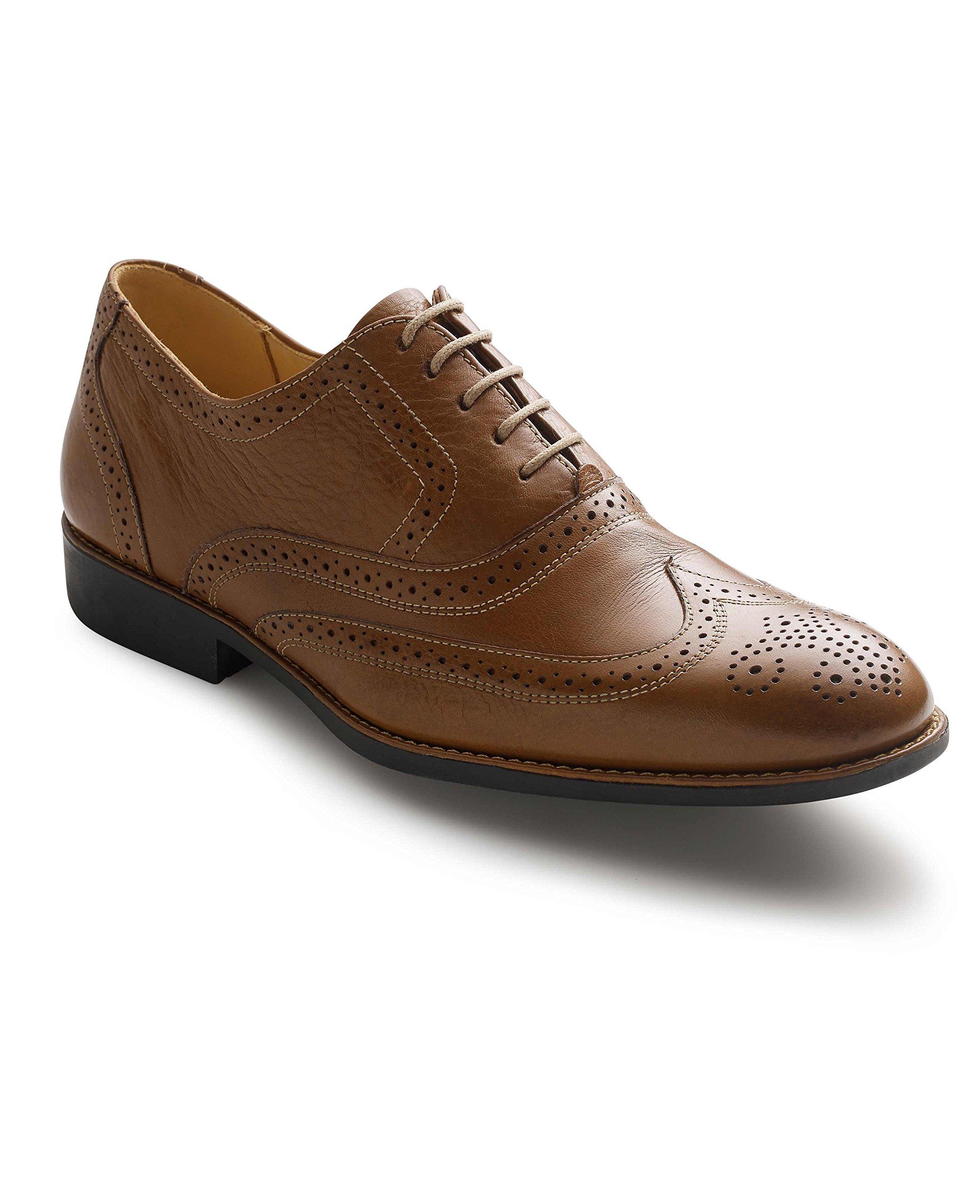 Savile Row Men's Tan Leather Full Brogue Shoes 10