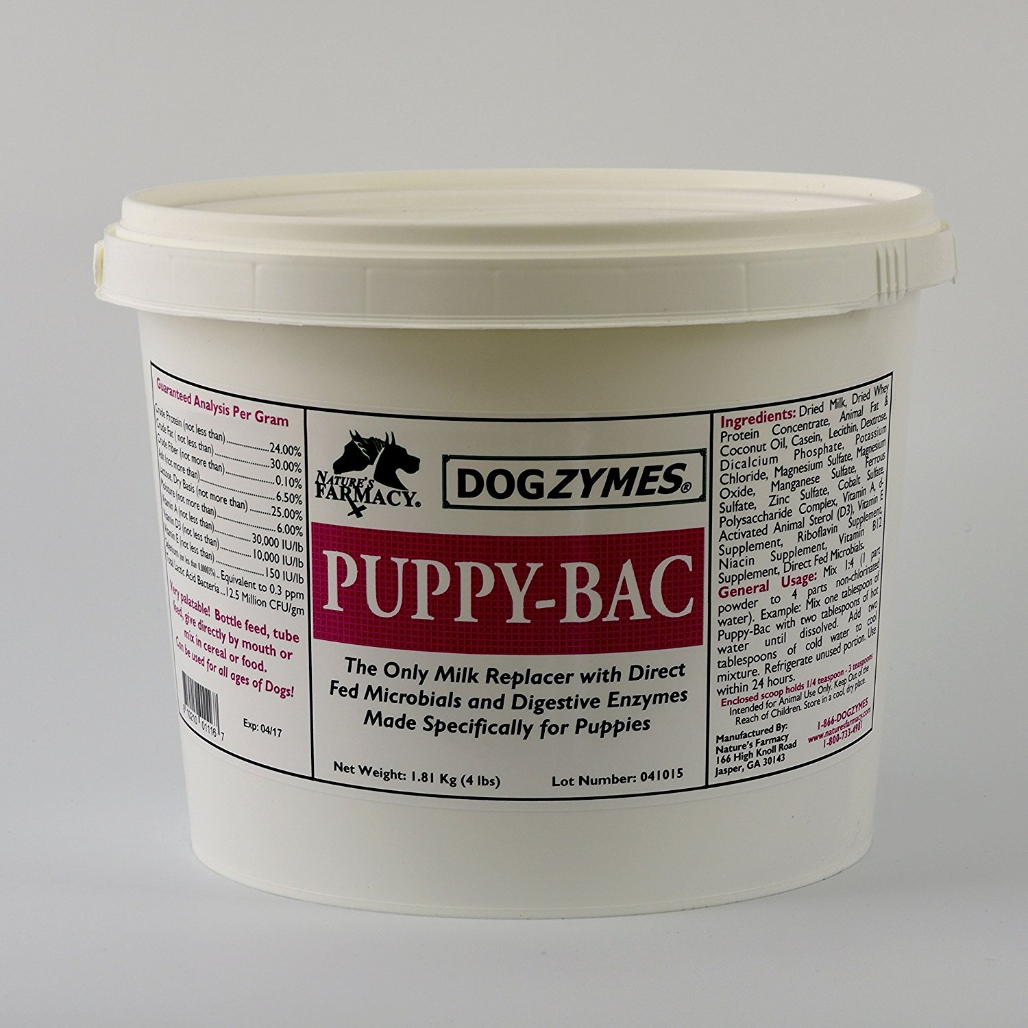 DOGZYMES Puppy Bac Milk Replacer, 4-Pound