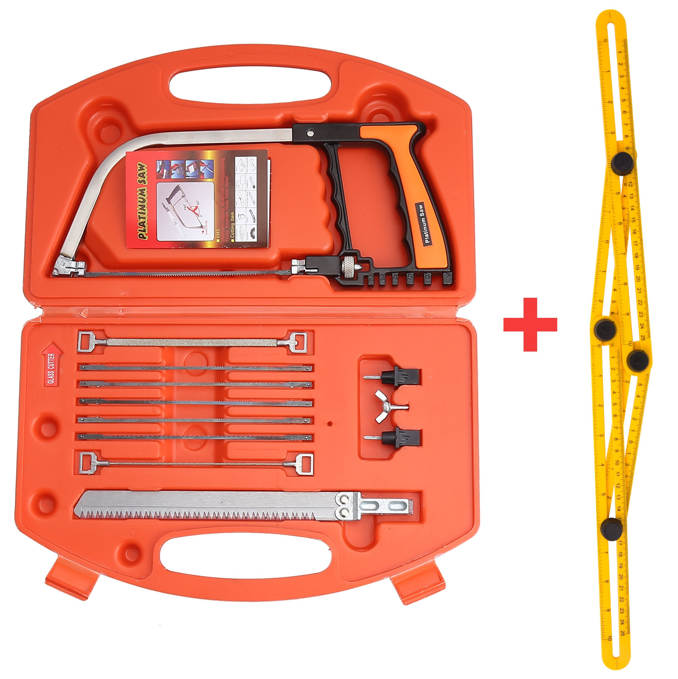 Handsaws Set, Four Fold Ruler, Multifunction Bow Saw +Angle Measuring Ruler for Engineer Handymen Builders Craftsmen by SILIVN