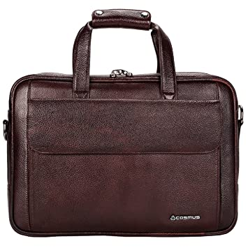 1bdd4257b670 COSMUS Leather 13 inches Men s Laptop Bag - Cosmus California Brown Office  Bag