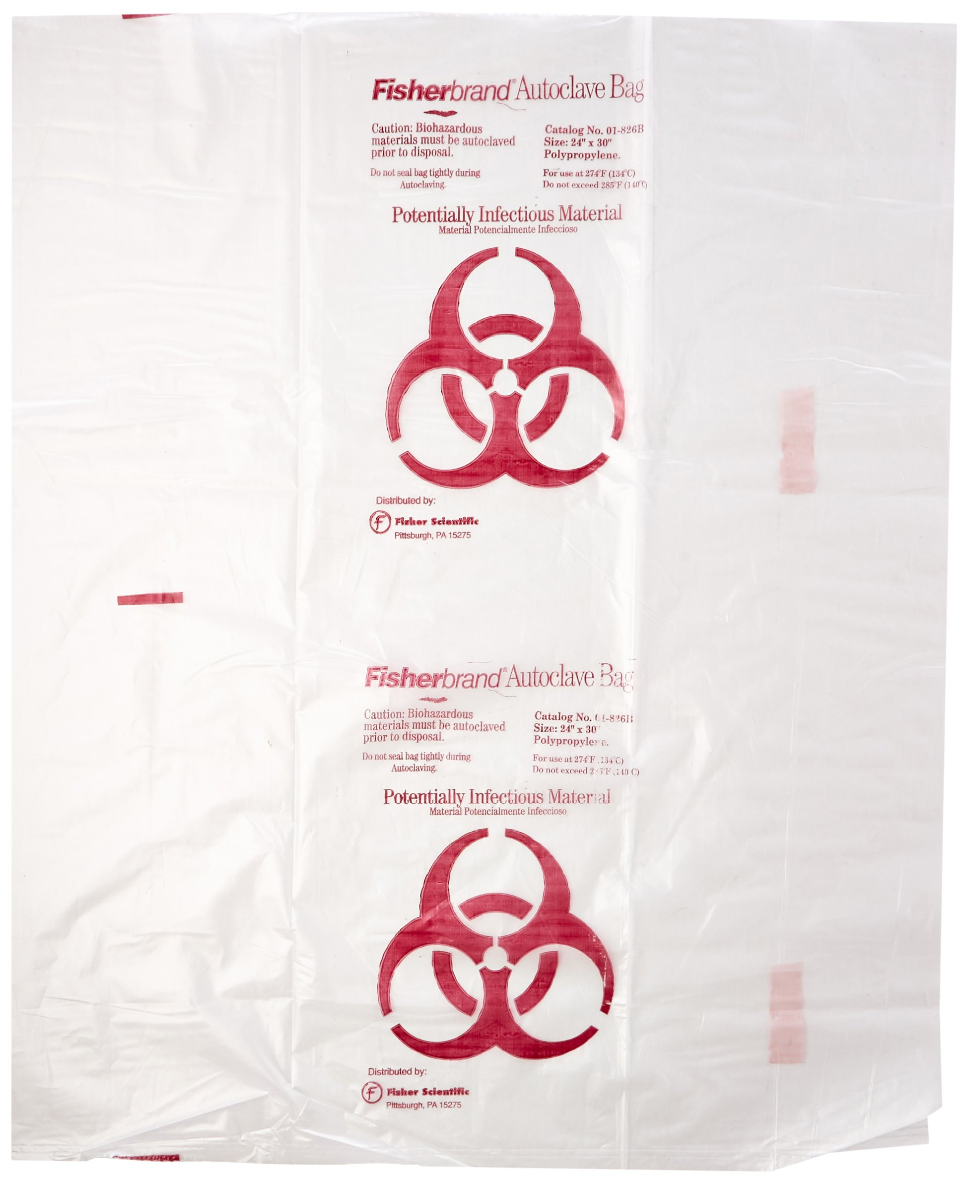 Fisher Scientific 01-826B Clear Polypropylene Biohazard Autoclave Bags, Printed, 24'' x 30'' (Pack of 200)