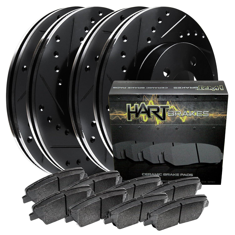 Fits Volvo S40, V50 Front Rear Black Drill Slot Brake Rotors+Ceramic Brake Pads