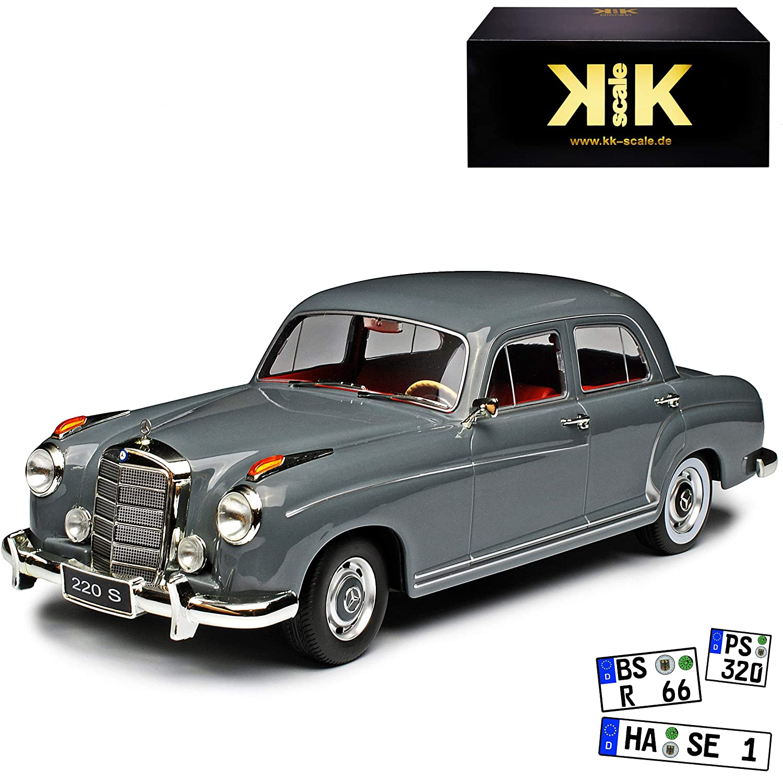 KK-Scale Mercedes-Benz 220 S Ponton Limousine Grau 1954-1959 1//18 Modell Auto mit individiuellem Wunschkennzeichen
