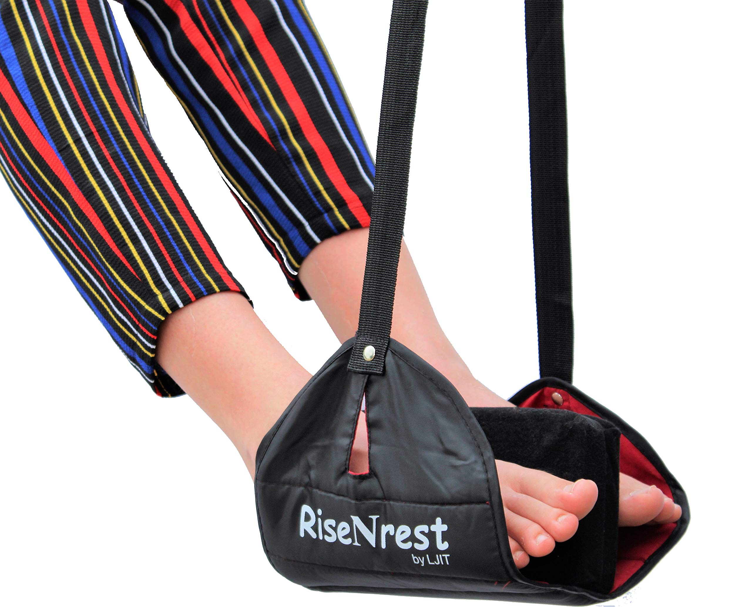 RiseNrest Airplane Footrest Hammock with Soft Pillow Cushioned Foot Divider - Airplane Travel Accessories -Portable Travel Foot Rest for Long International Flights
