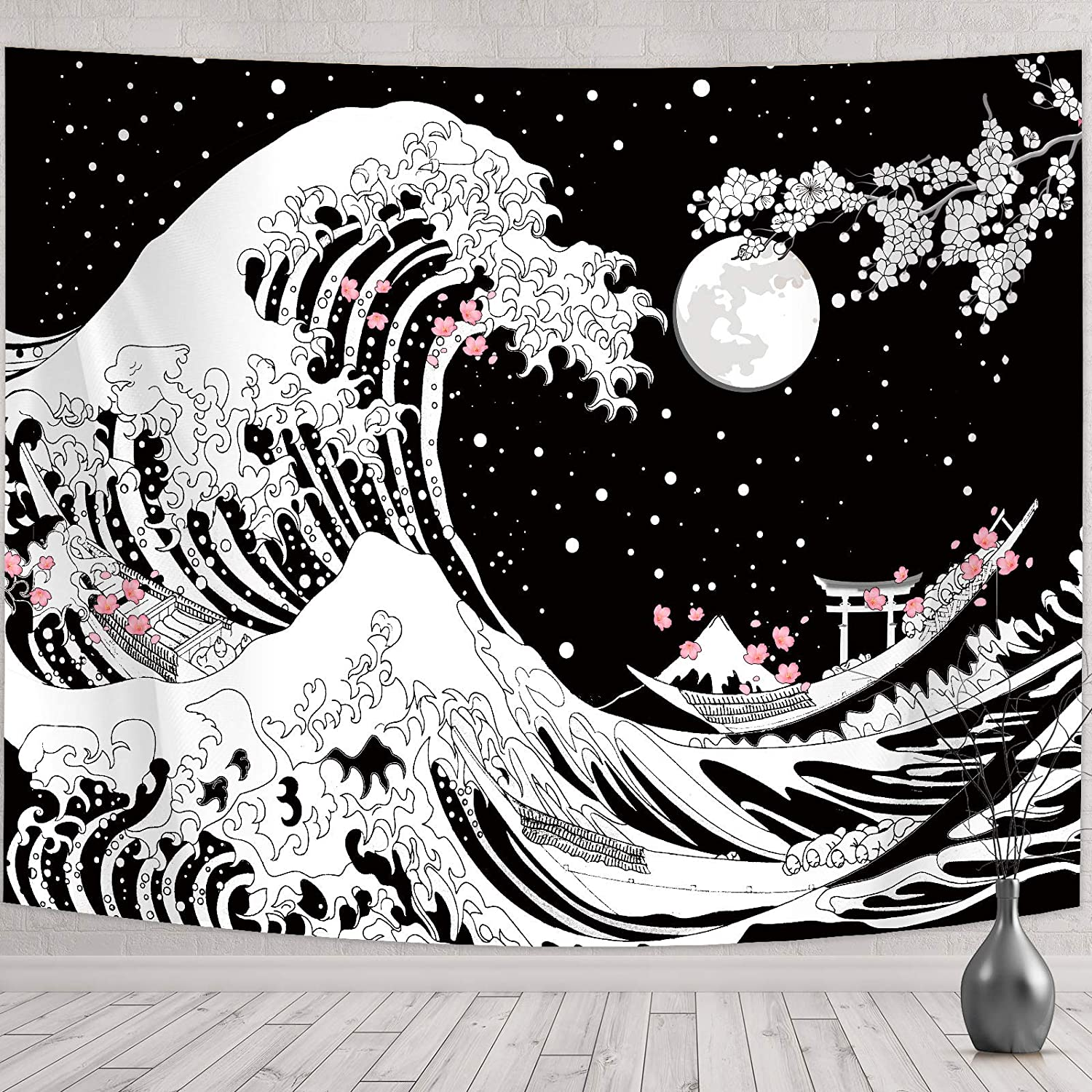 Japanese Wave Wall Hanging Tapestry Great Wave Wall Tapestry Kanagawa Wave Wall Decoration with Sunset Cherry Blossom Black and White for Living Room Bedroom Dorm Wall (78.7 x 59.1 Inch (W x L))