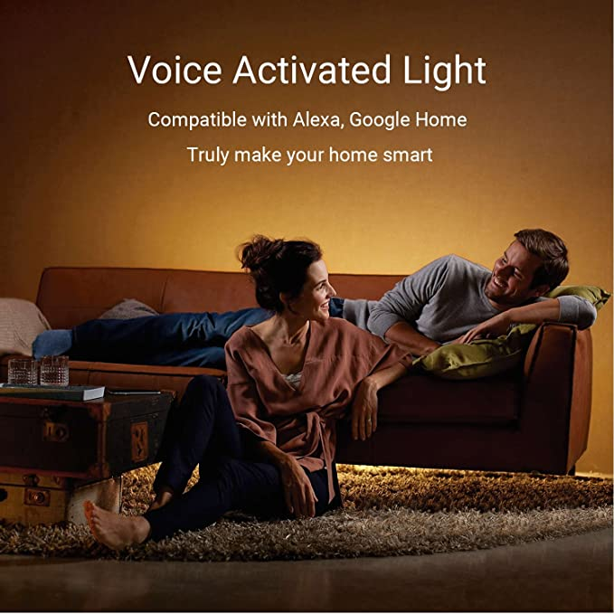 AEGOOL Ruban LED Fonctionne avec Echo et Google Home Commande vocale via Alexa et Google home Élairage USB Bias 2M Multicolores RVB