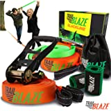 Premium Slackline Kit with Training Line - Ideal for Beginners Kids - Tree Protectors Arm Trainer Ratchet Cover - Easy Setup Slack Lines Outdoor Healthy Fun - Slacklines Starter Kit