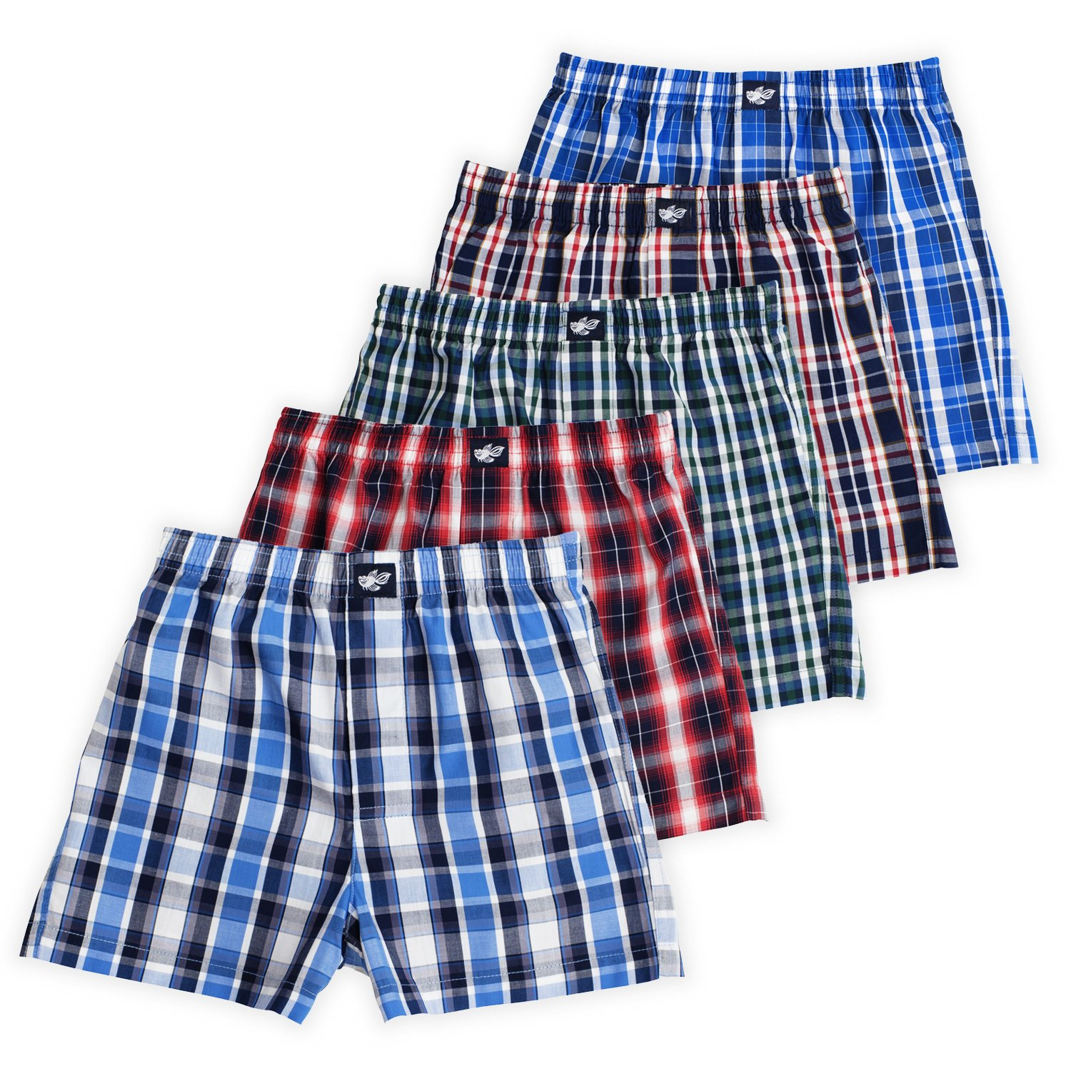 Lucky & Me Ryan Boys Boxer Shorts, 5-Pack, 100% Woven Combed Cotton, Encased Waistband, Plaid Grande, 7/8