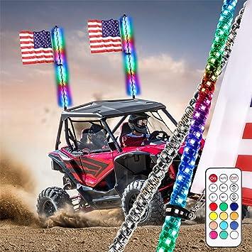OFFROADTOWN LED Whip Lights 2PCS 3FT RF Remote Control Spiral Lighted Whips RGB Dancing//Chasing Light Antenna LED Whips for UTV ATV RZR Off-Road Trucks Pickup 4X4 Buggy Dune