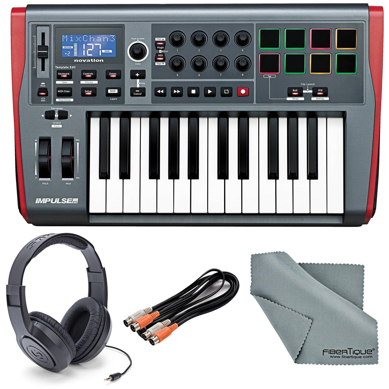 Novation Impulse 25 USB-MIDI Keyboard and Bundle with 2 MIDI to 2 MIDI (Dual) Cable + Samson Stereo Headphones + Fibertique Cleaning Cloth