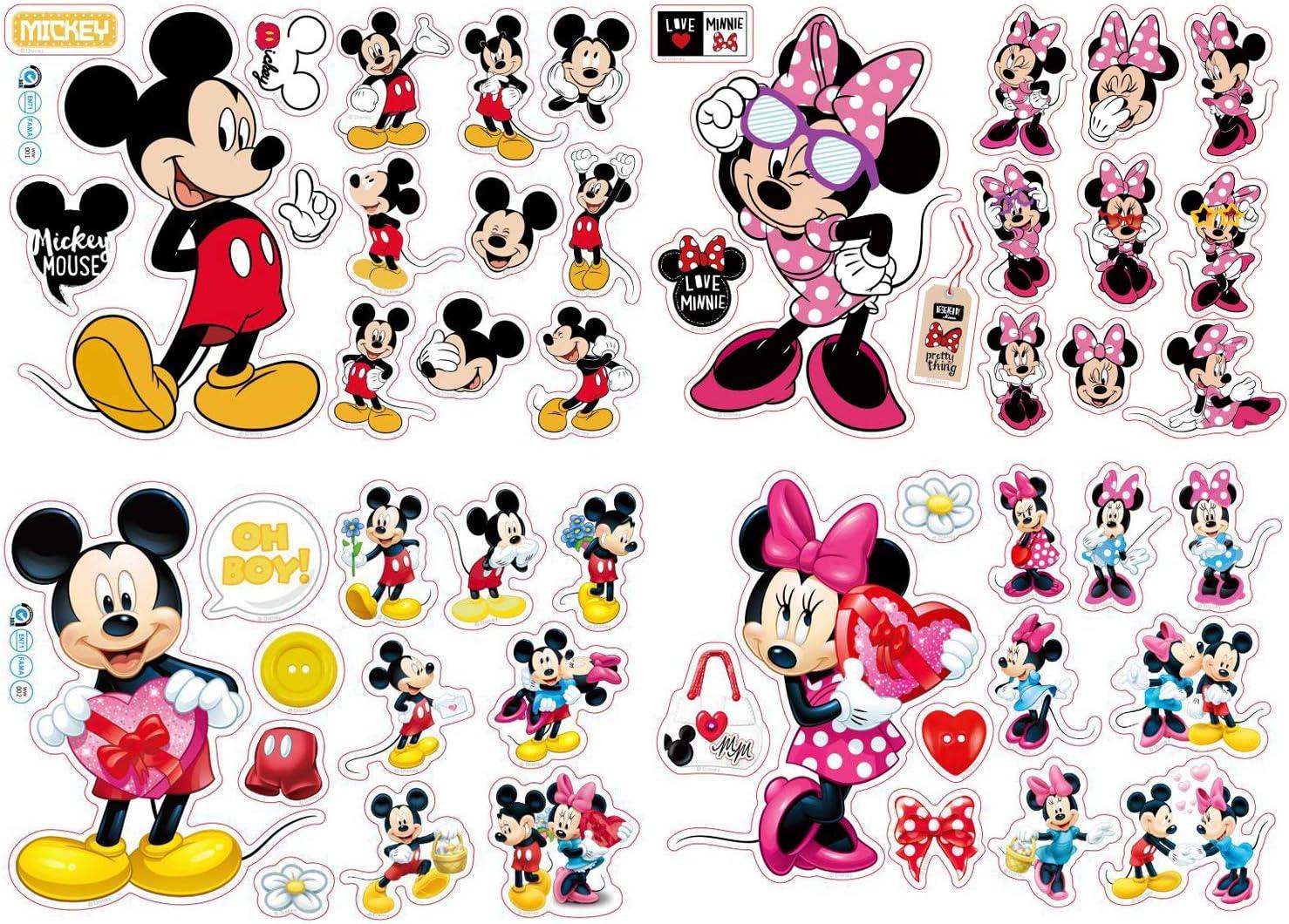 Pegatinas Infantiles Pared Minnie Pegatinas Stickers Pared Mickey Dormitorio Calcomanias para dormitorio de bebé y niños 20 * 30cm 4Pcs