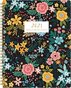 """2021 Planner - Weekly & Monthly Planner 2021 with Marked Tabs and to-do List, Jan 2021 - Dec 2021, 8"""" x 10"""", Twin-Wire Binding, 2 Contacts Pages, 2 Year Calendar & 2021-2023 Holidays, Blooming Flowers"""