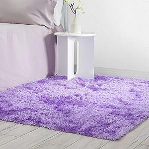 Veken Fluffy Shag Area Rugs for Living Room Bedroom Home Decor Nursery, Machine Washable Indoor Carpets for Girls Boys Kids Room 4x5.3 Feet, Tie-Dyed Purple