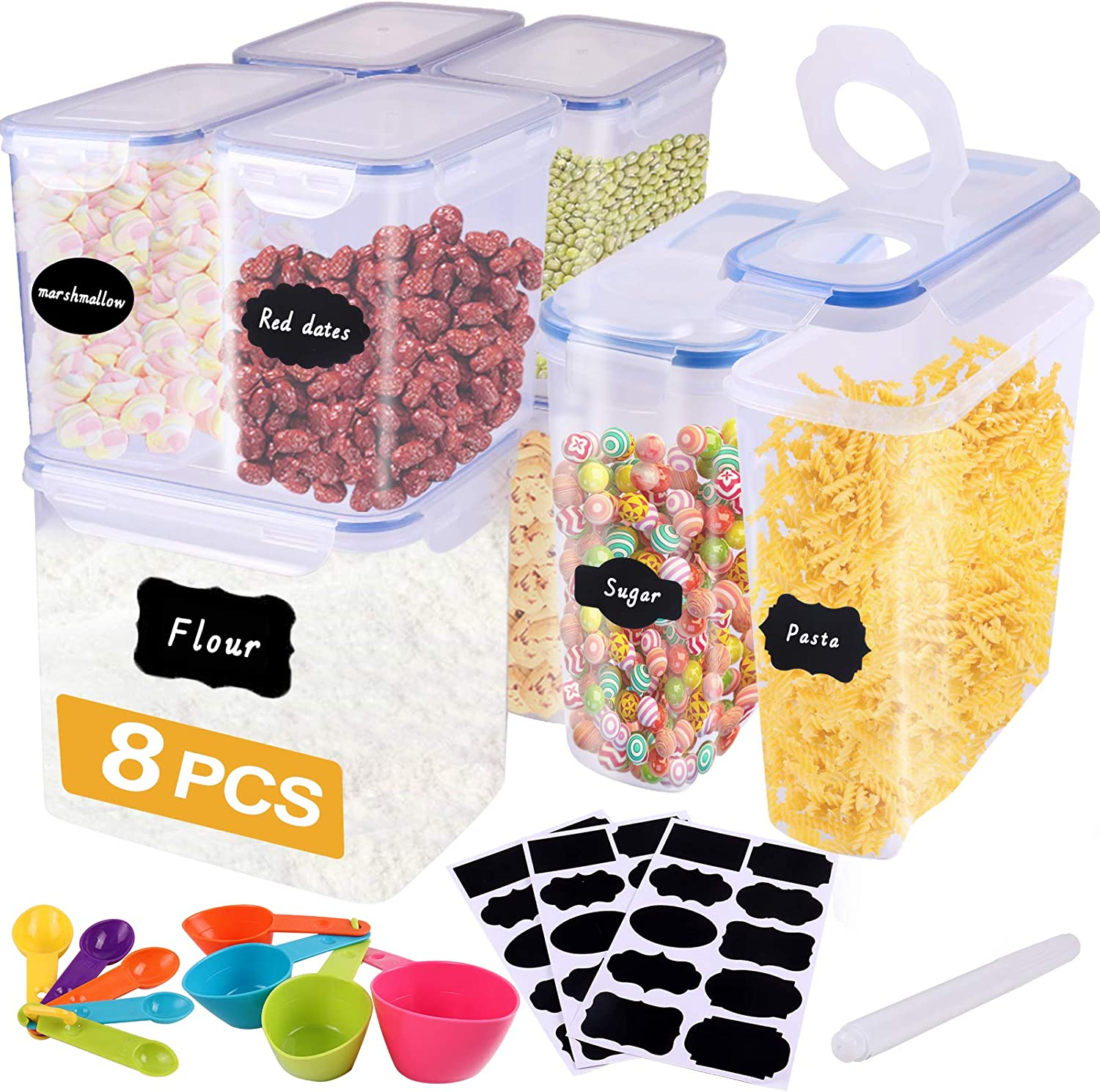 Airtight Food Storage Containers, Plastic Cereal Containers Storage Set 8 PCS 3.5L/1.8L/4L, Storage Containers with Lids for Food, Flour & Sugar, Large Pantry Storage with Measuring Cups & 30 Labels.