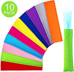 Popsicle Holders Ice Pop Neoprene Insulator Sleeves Freezer Popsicle Holders Bags (Style A, 10 Pieces)