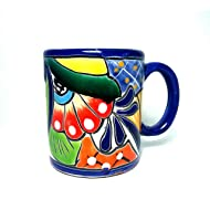"""4"""" 8oz. Blue Rimmed Traditional Mexican Talavera Pottery Coffee Mug for Daily Use and Home Decor"""