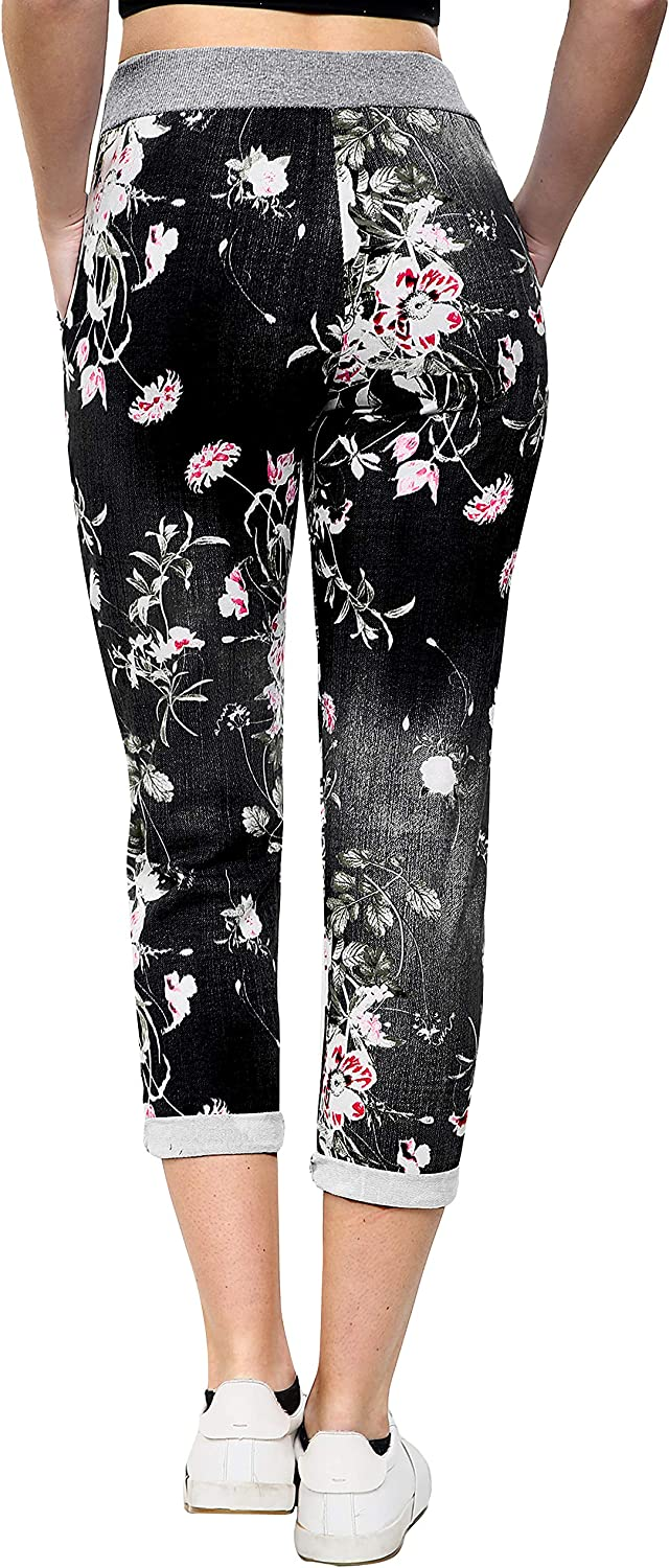 Love My Fashions/® Womens Athletic Italian Active Yoga Printed Pants Ladies Elasticated Drawstring Waist Open Ankle Sportswear Stretchy Cotton Summer Trouser