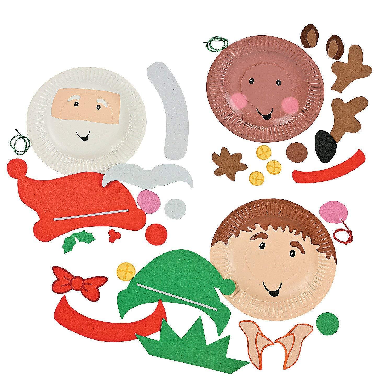 Santa Elf Reindeer Fun Express Christmas Holiday Characters Paper Plate Craft Kit-Makes 12