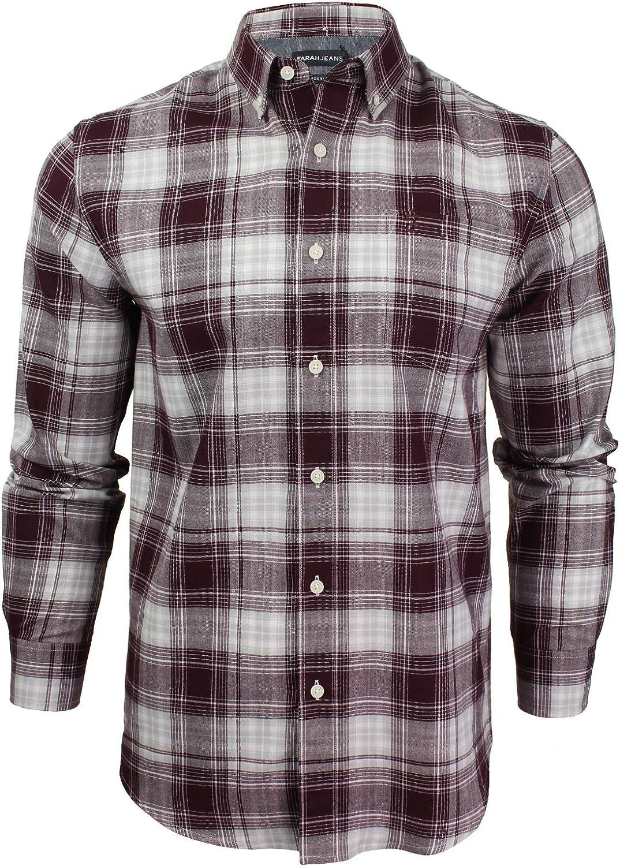 Farah Jeans - Camisa Casual - Cuadros - con Botones - Manga Larga - para Hombre Rojo Burdeos Medium: Amazon.es: Ropa y accesorios