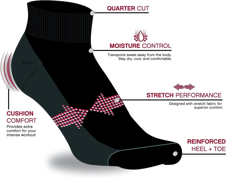 Reebok Girls Athletic Arch Compression Cushion Comfort Quarter Cut Socks 6 Pack