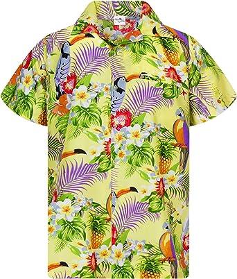 Camisa Hawaiana enrrollada Hombres XS-6XL Manga Corta Bolsillo Frontal Hawaiano-Imprimir Cacatúa Loro: Amazon.es: Ropa y accesorios