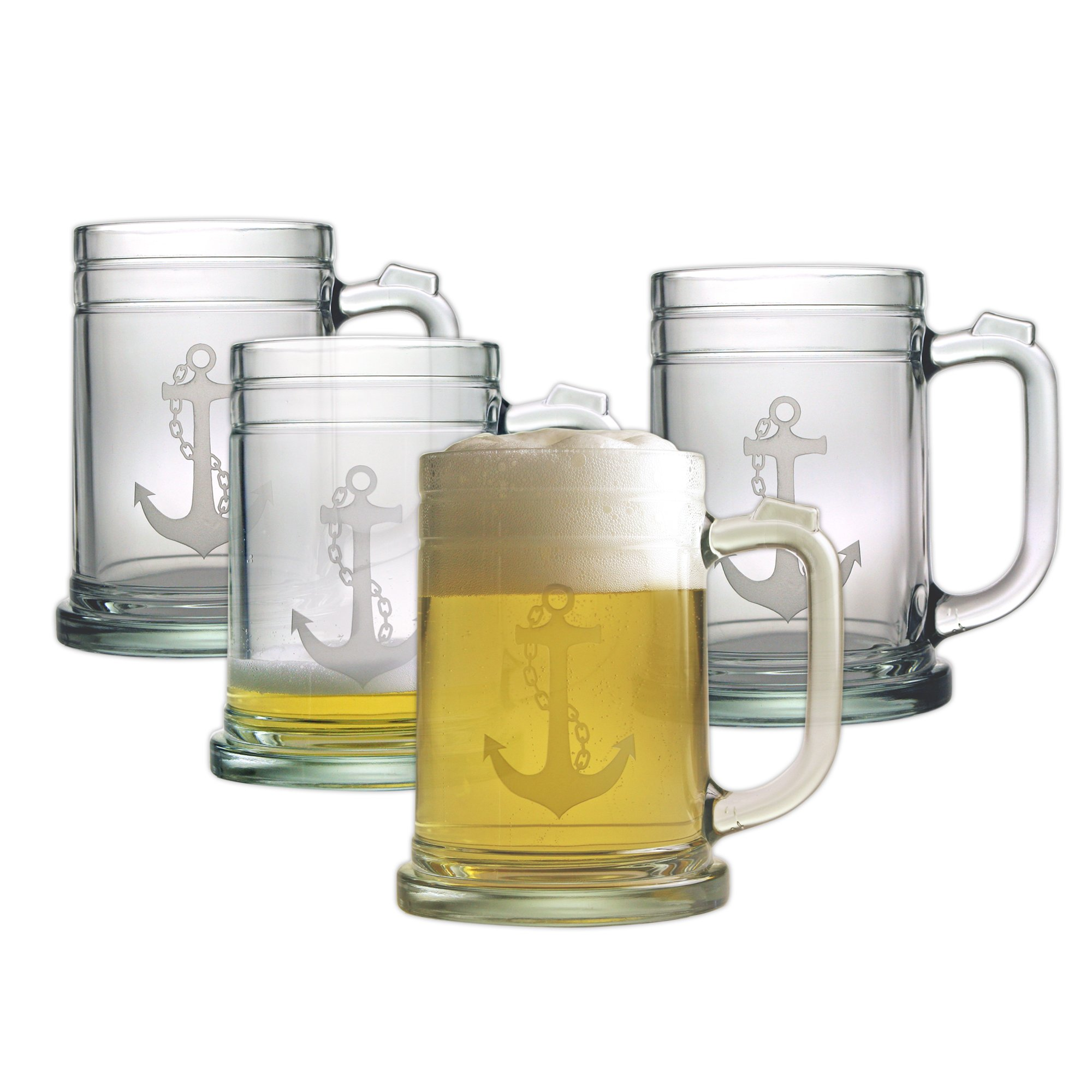 Susquehanna Glass Nautical Anchor Sand Etched Glass Tankard Mugs, Set of 4, 15 ounces by Susquehanna Glass (Image #1)