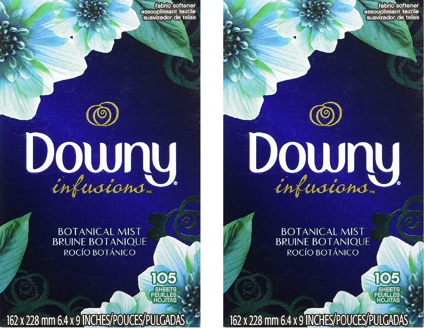 Downy Fabric Softener Sheets, Botanical Mist, 105 Ct, Pack of 2