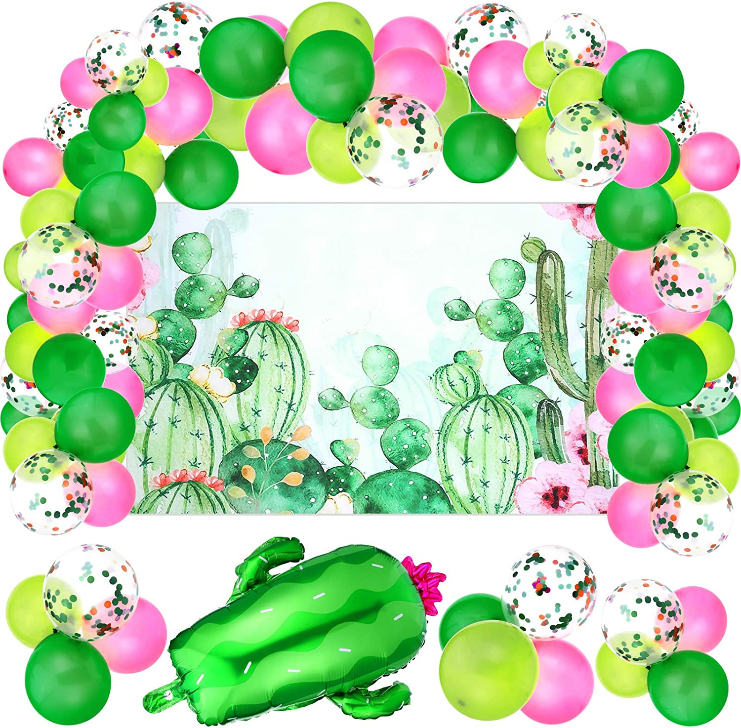 72 Pieces Cactus Party Decorations Set, Includes Floral Cactus Backdrop and Foil Balloon Confetti Balloons for Garland Summer Fiesta Jungle Baby Shower Wedding Office Birthday Party Supplies