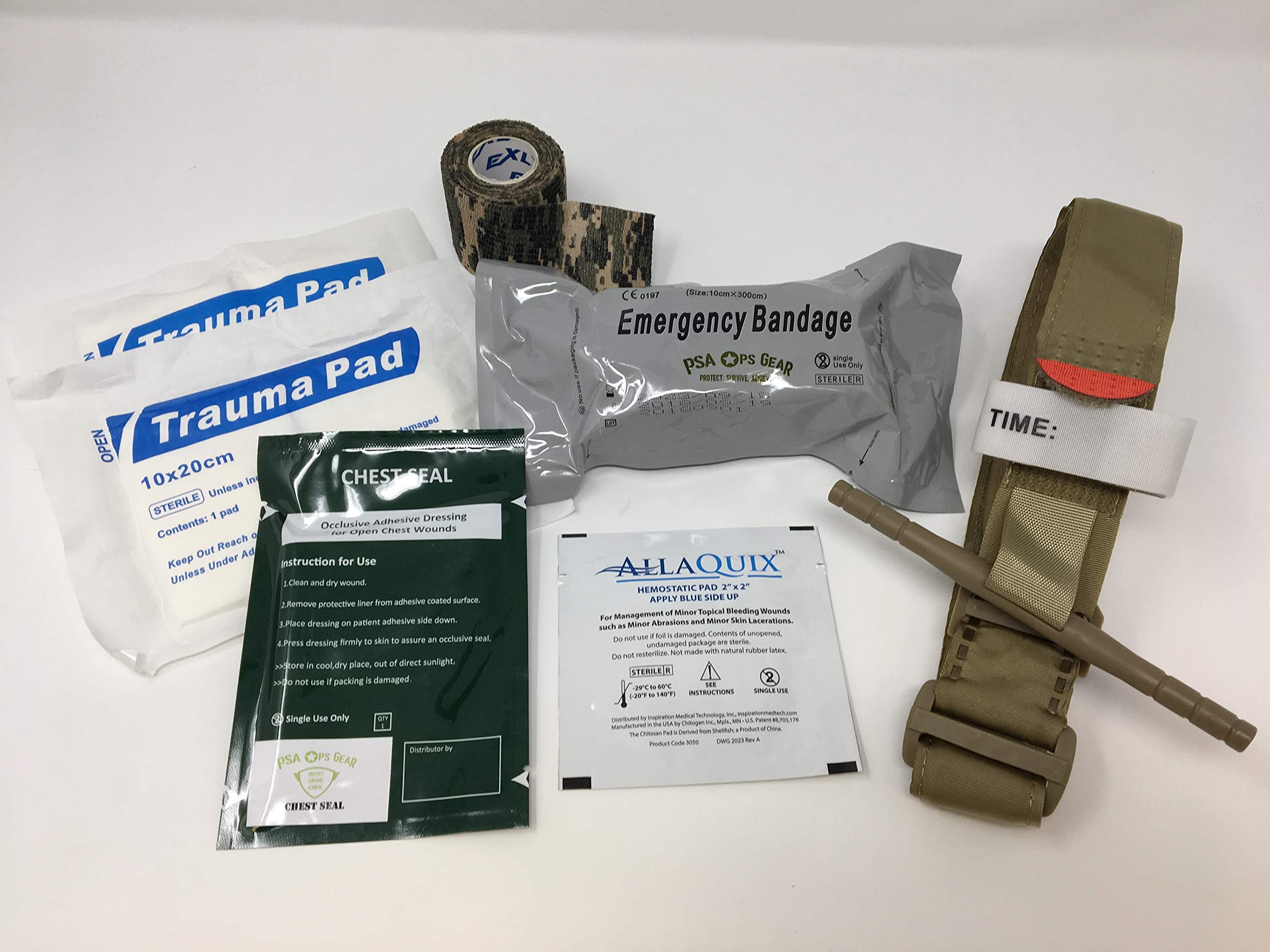 Hemorrhage Control IFAK - Contains Tourniquet + Combat Bandage + Trauma Dressing + Chest Seal (Best Sellers) by PSA Ops Gear