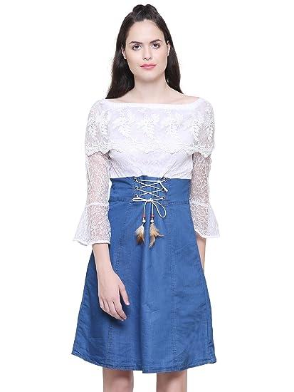 ebbbb83b7ed3b Fashion205 Dark Blue Denim Dress for Women s  Amazon.in  Clothing ...
