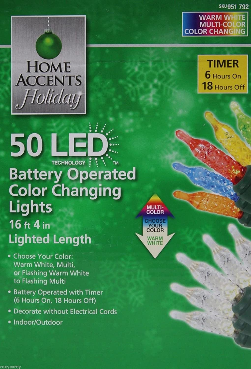 Amazon.com: Home Accents Holiday Party 50 LED Battery Operated Color ...